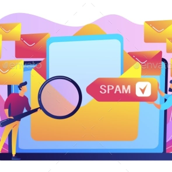 Spam Concept Vector Illustration.