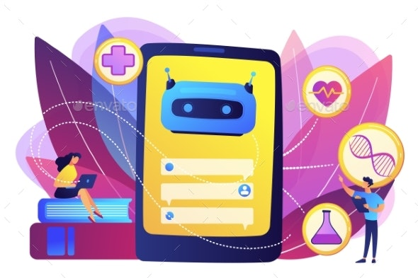 Chatbot in Healthcare Concept Vector Illustration. - Computers Technology