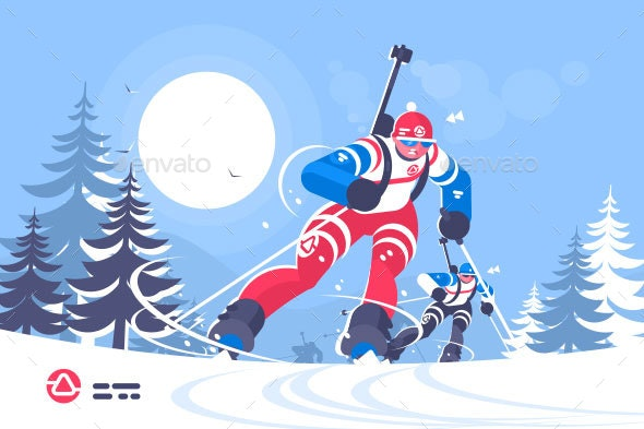 Biathlon Race Skiing Man Flat Poster - Sports/Activity Conceptual