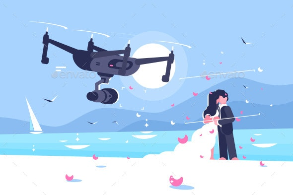 Shooting Drone Over Wedding Flat Poster - Computers Technology