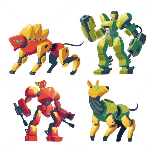 Vector Cartoon Robot Guards - Miscellaneous Characters