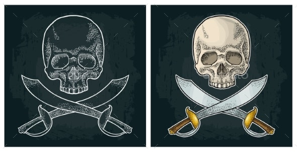 Skull and Crossed Pirate Sabers