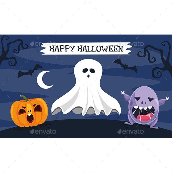 Vector Illustration Of Halloween - Halloween Seasons/Holidays