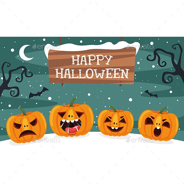 Vector Illustration Of Halloween - Christmas Seasons/Holidays
