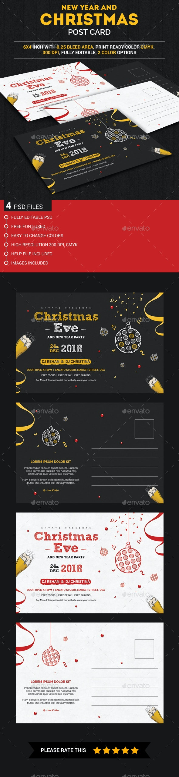 Christmas and New year Post Card - Invitations Cards & Invites