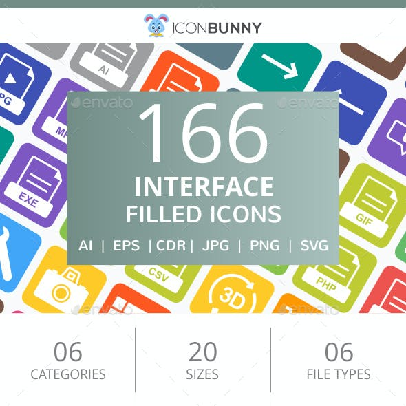 166 Interface Filled Round Corner Icons