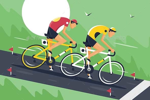 Young Men in Sportswear and Bicycle Helmet Fast - Sports/Activity Conceptual