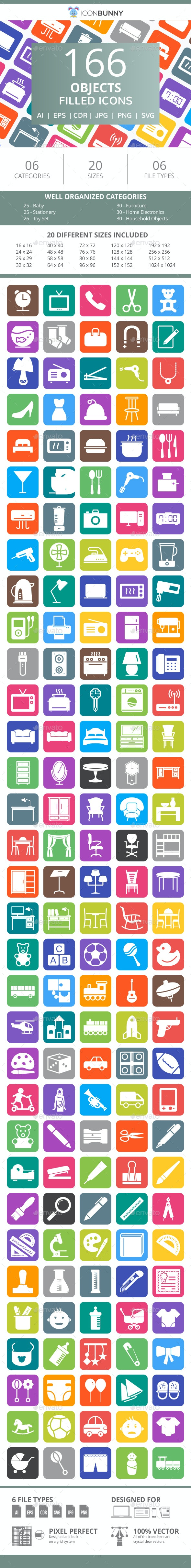 166 Objects Filled Round Corner Icons - Icons