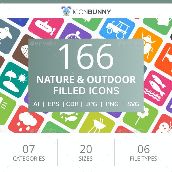 166 Nature & Outdoor Filled Round Corner Icons