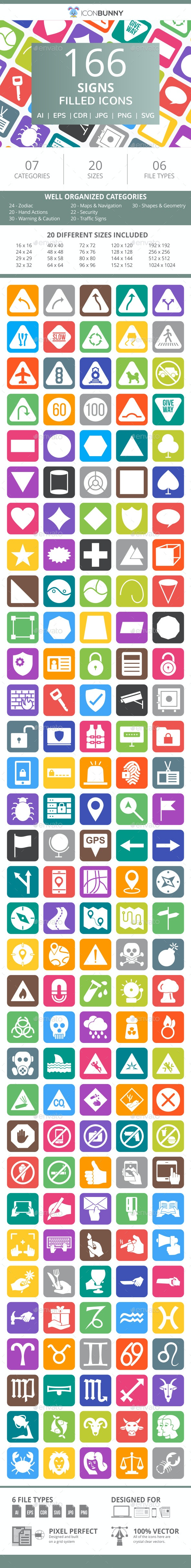 166 Sign Filled Round Corner Icons - Icons