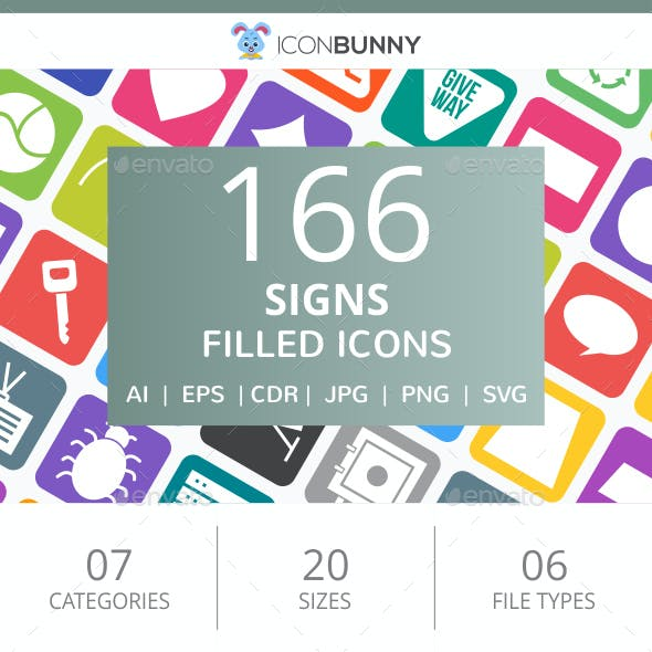 166 Sign Filled Round Corner Icons