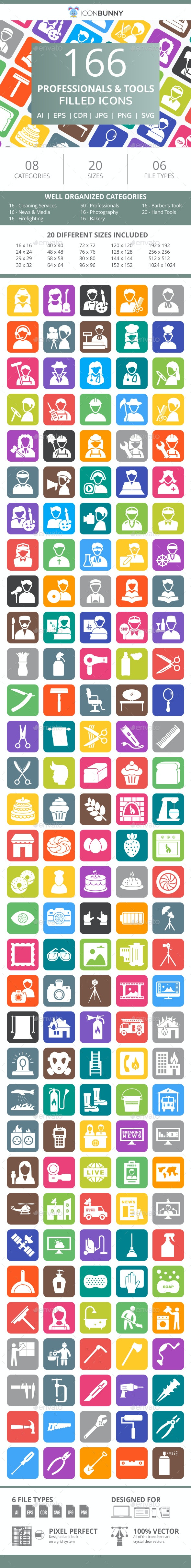 166 Professionals & their tools Filled Round Corner Icons - Icons