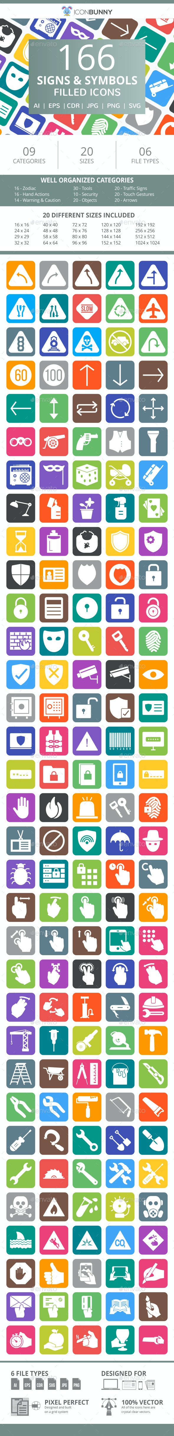 166 Signs & Symbols Filled Round Corner Icons - Icons