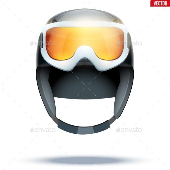 Classic Ski Helmet with Snowboard Goggles - Sports/Activity Conceptual
