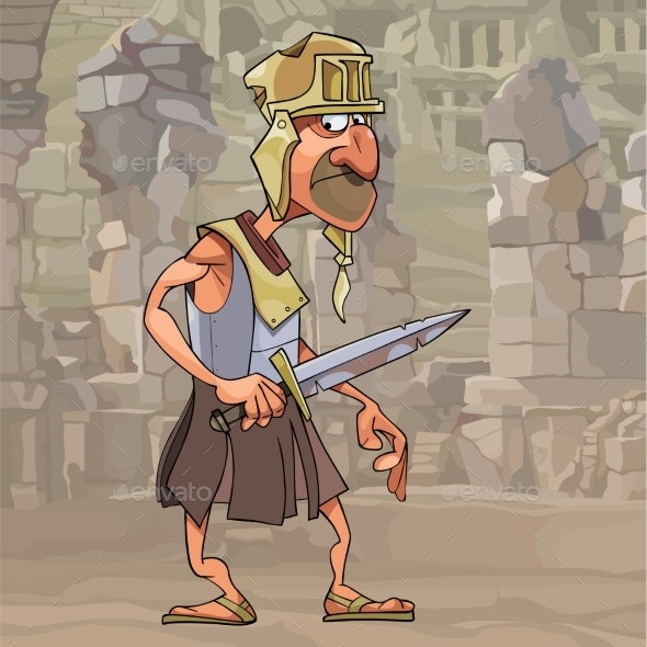 Cartoon Man in Gladiator Clothes - People Characters