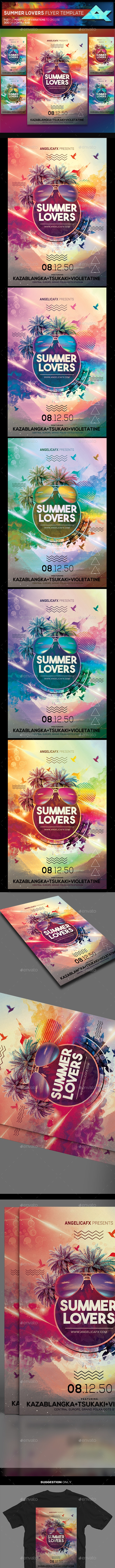 Summer Lovers Photoshop Flyer Template - Flyers Print Templates