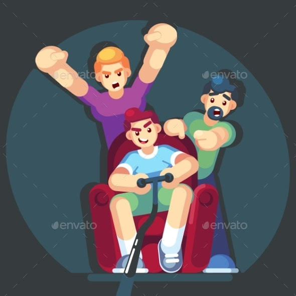 Cartoon Young People Play Video Games - People Characters