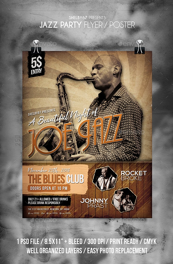 Jazz Party Flyer / Poster - Clubs & Parties Events