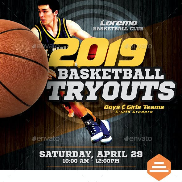 Basketball Tryouts Flyer Templates