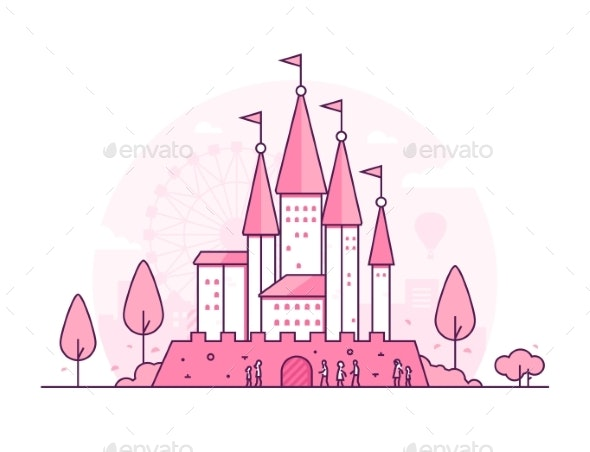 Castle - Thin Line Design Style Vector - Buildings Objects