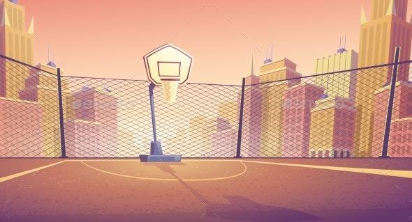Vector Cartoon Background of Street Basketball - Backgrounds Decorative
