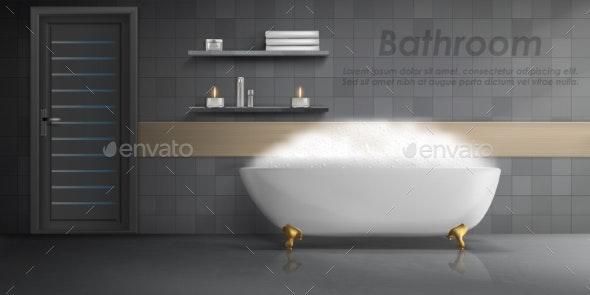 Vector Mockup of Modern Bathroom Interior - Backgrounds Decorative