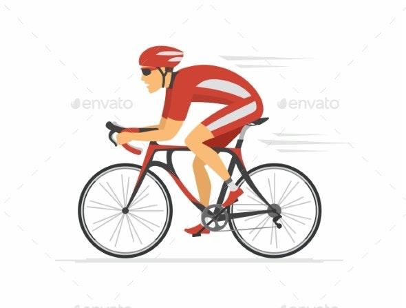 Cycling - Modern Colorful Vector Cartoon Character - Sports/Activity Conceptual