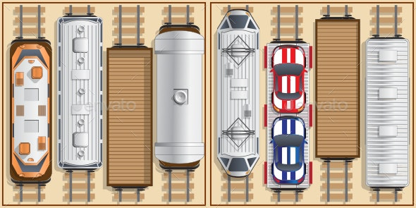 Railway Locomotive and Wagons - Man-made Objects Objects
