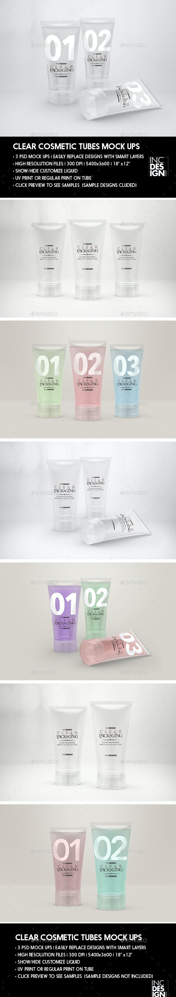 Clear Cosmetic Tube MockUps - Packaging Product Mock-Ups