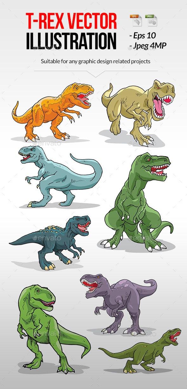Tyrannosaurus Rex Colored Vector - Animals Characters