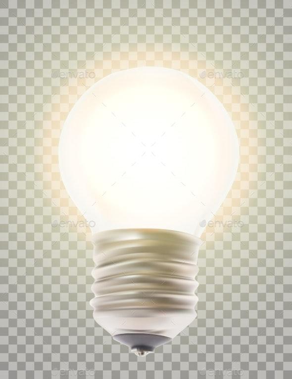 Naturalistic Lit Glowing Light Bulb - Technology Conceptual