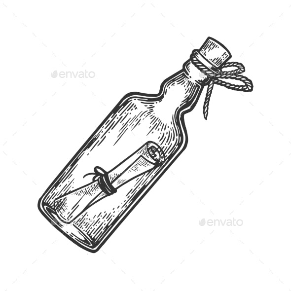 Message in Bottle Engraving Vector Illustration - Man-made Objects Objects