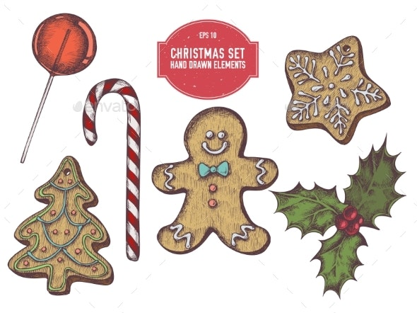 Vector Collection of Hand Drawn Colored - Christmas Seasons/Holidays