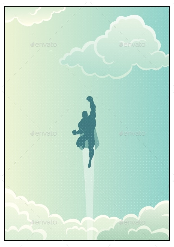 Superhero in Cloudscape - People Characters