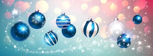 Blue Christmas Balls on Colorful Winter Background - Christmas Seasons/Holidays