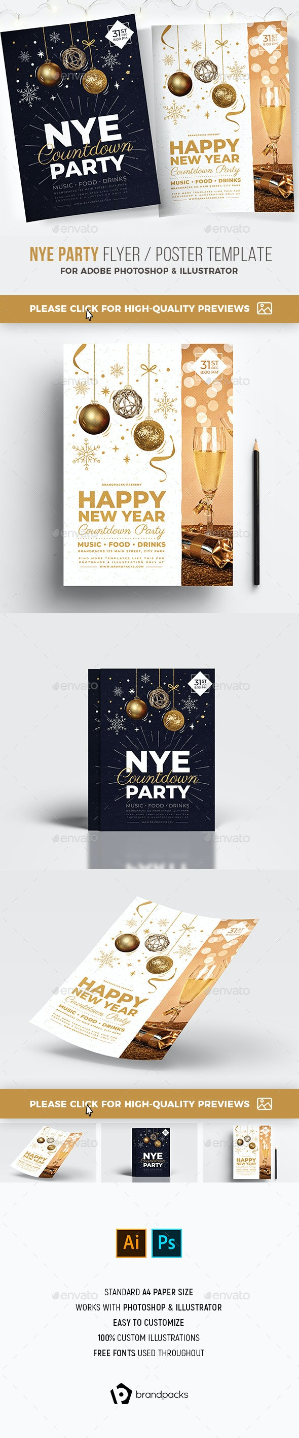 NYE Party Poster / Flyer - Holidays Events
