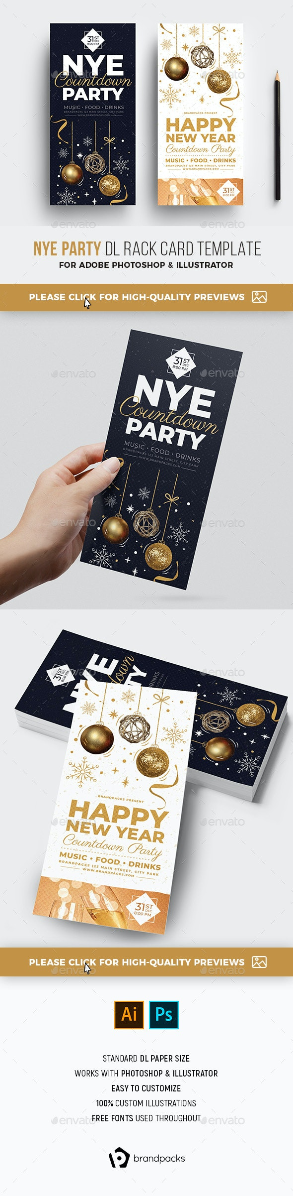 NYE Party DL Rack Card - Holidays Events