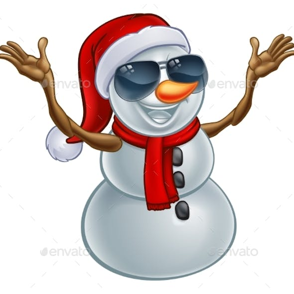 Cool Christmas Snowman in Santa Hat and Sunglasses