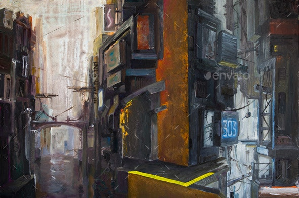 Dark Futuristic Cityscape - Scenes Illustrations
