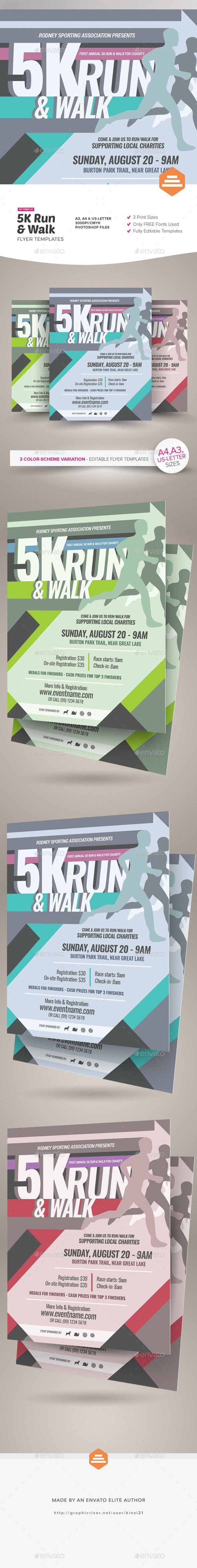 5K Run Flyer and Poster Templates - Sports Events