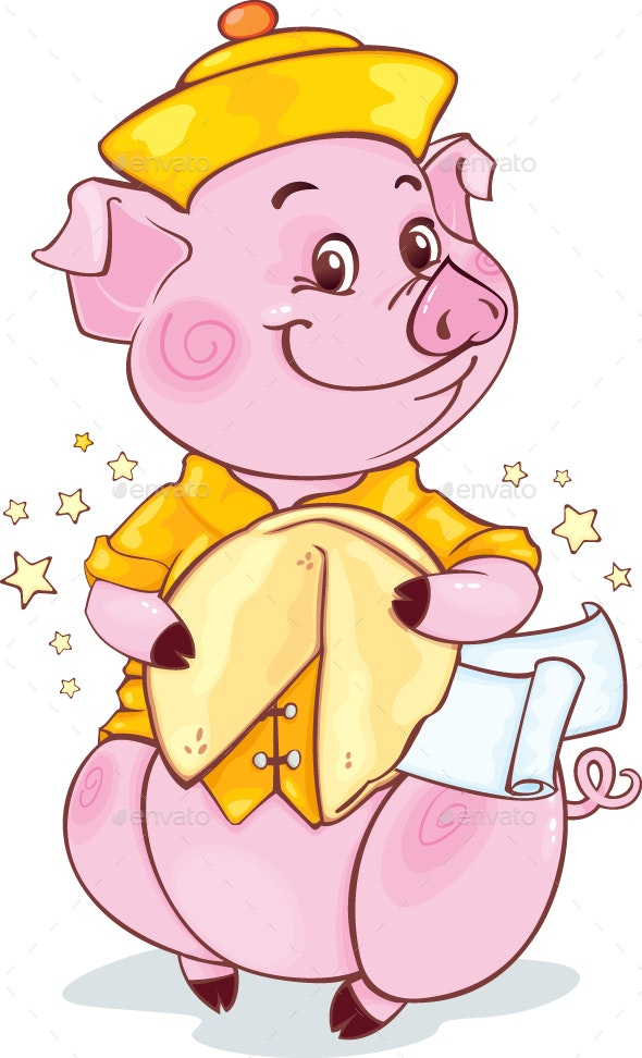 Yellow Earthy Pig with Fortune Cookie - New Year Seasons/Holidays
