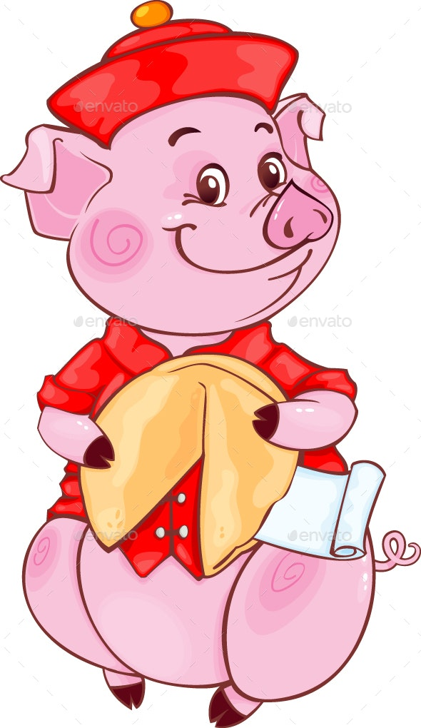 Piglet with Fortune Cookie for the New Year 2019 - New Year Seasons/Holidays