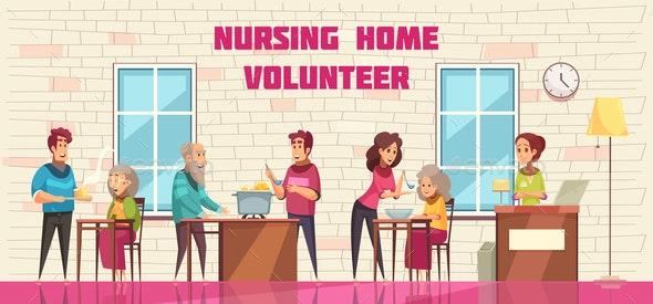 Nursing Home Volunteers Banner - Health/Medicine Conceptual