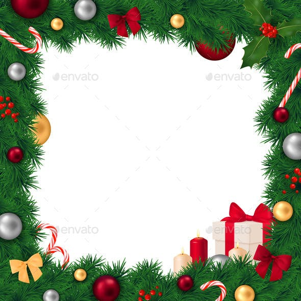 Christmas Frame Realistic Composition