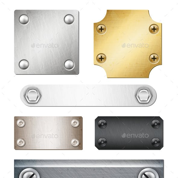 Realistic Metal Plates With Fasteners