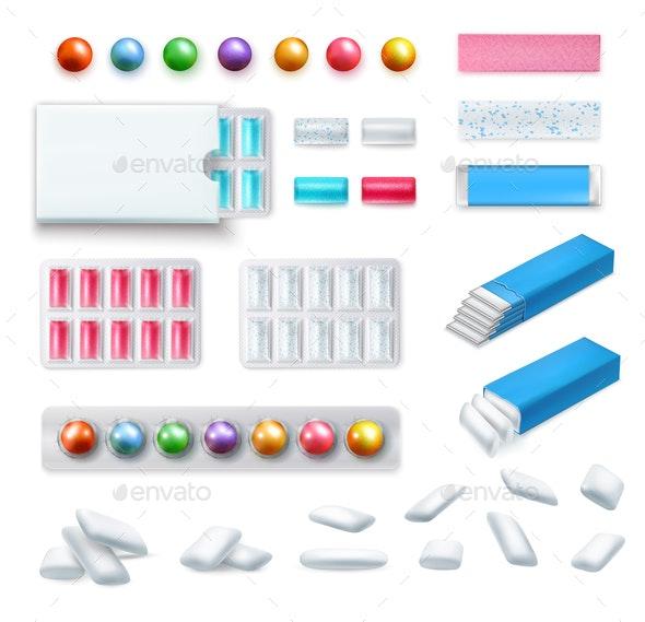 Realistic Chewing Gum Set - Health/Medicine Conceptual
