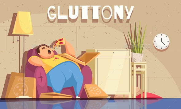Gluttony Background Illustration - People Characters