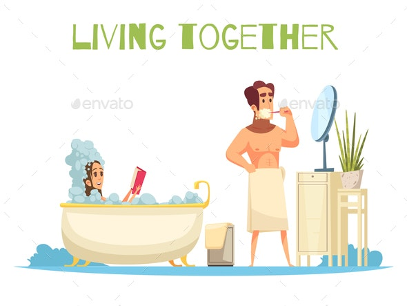 Living Together Concept - People Characters