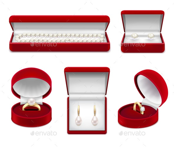 Jewelry in Boxes Realistic Set - Man-made Objects Objects