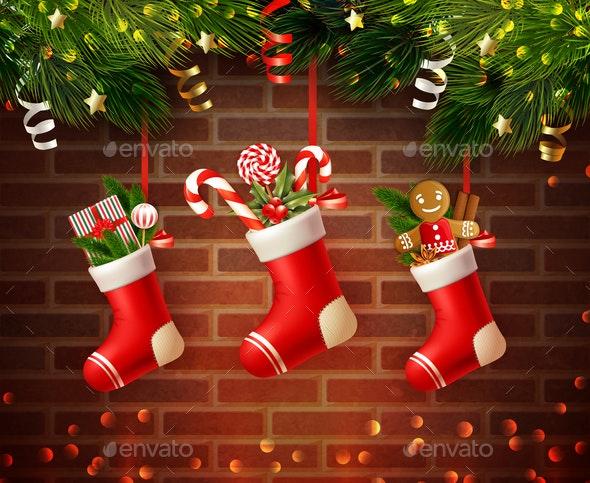Christmas Socks Wall Composition - Christmas Seasons/Holidays